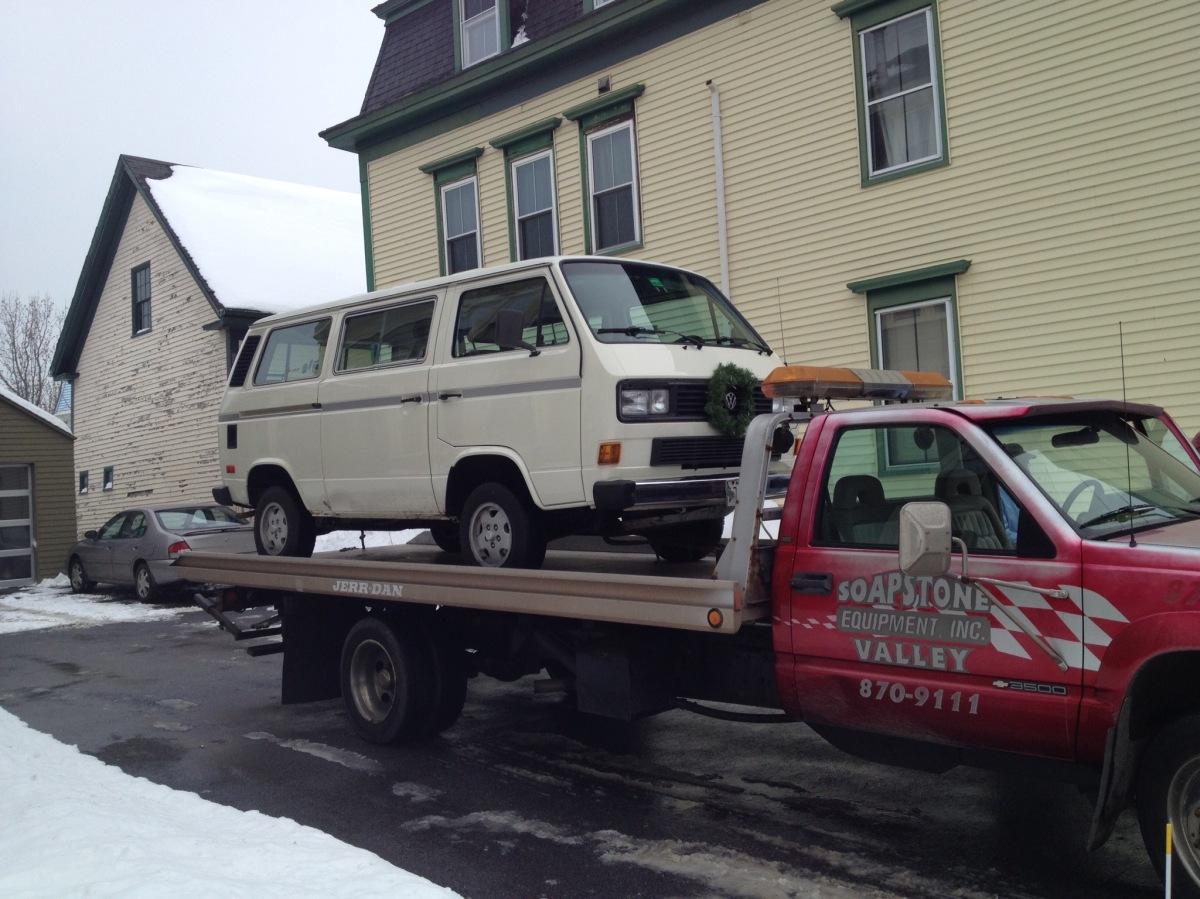 Bringing the van home.